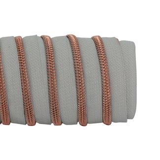 K-Bas Zipper tape Coil Light grey - Rose gold