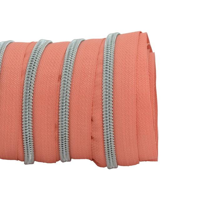 SO Zipper tape Coil Coral - Matt silver