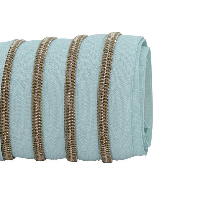 SO Zipper tape Coil Mint blue - Shiny anti-brass