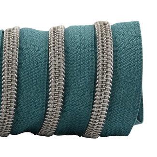 K-Bas Zipper tape Coil Dark turquoise - Matt silver