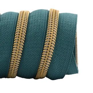 K-Bas Ritstape Spiraal Donker turquoise - Mat goud