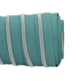 SO Zipper tape Coil Teal - Matt silver