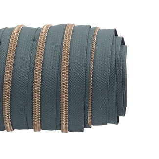 SO Zipper tape Coil Smokey green - Shiny anti-brass