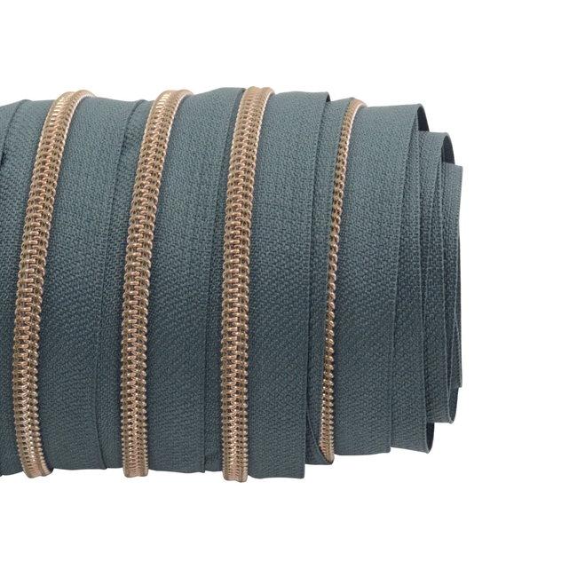 SO Zipper tape Coil Smokey green - Shiny anti-brass