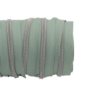 SO Zipper tape Coil Mint green - Matt silver