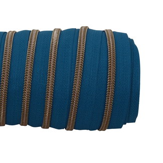 SO Zipper tape Coil Petrol - Shiny anti-brass
