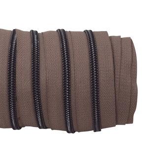 SO Zipper tape Coil Taupe - Black nickel