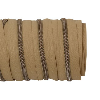 SO Zipper tape Coil Camel - Shiny anti-brass