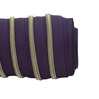 SO Zipper tape Coil Aubergine - Shiny anti-brass