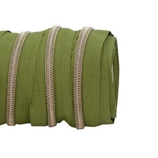 SO Zipper tape Coil Army green - Shiny anti-brass