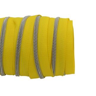 SO Zipper tape Coil Bright yellow - Matt silver