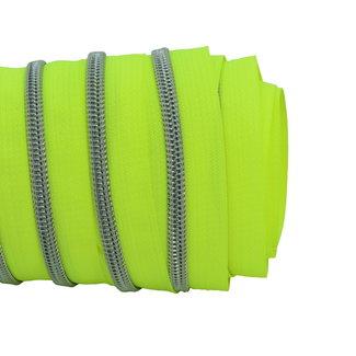 SO Zipper tape Coil Neon yellow - Matt silver
