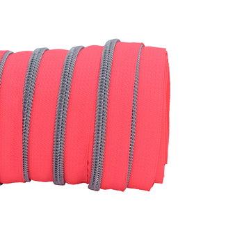 SO Zipper tape Coil Neon pink - Matt silver