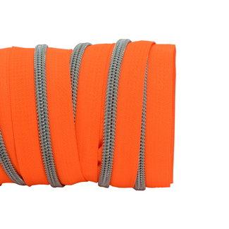 SO Zipper tape Coil Neon orange - Matt silver
