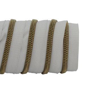 K-Bas Zipper tape Coil Light grey - Matt Anti-Brass