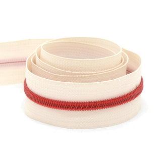 Zipper zoo Ritstape Spiraal Ivoor - Rood