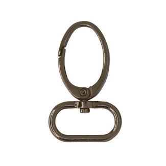 Ovale musketon Zwart nikkel 25mm
