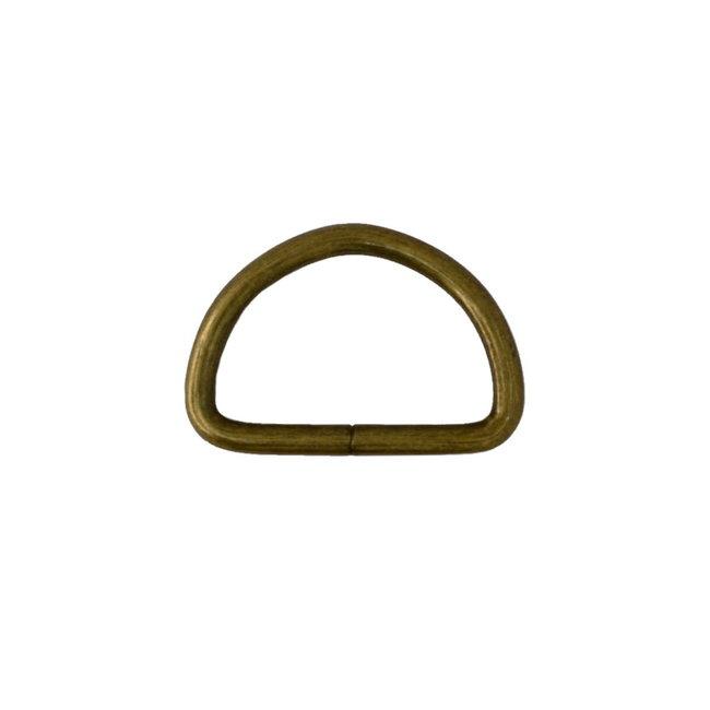 Zipper zoo D-ring Basis Brons