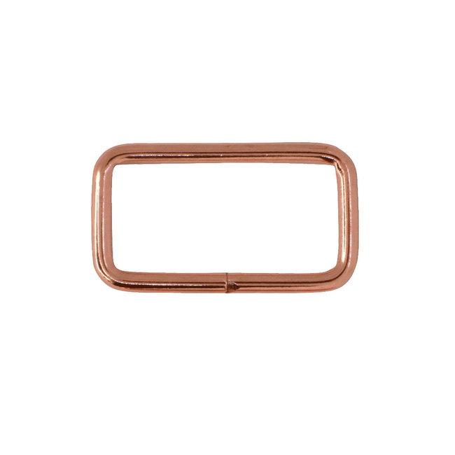 Zipper zoo Rechthoekige ring Basis Rosé goud
