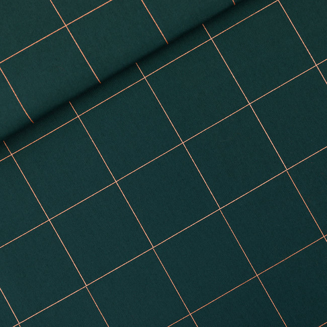 See You At Six Cotton Twill Canvas Thin Grid XL Green Gables