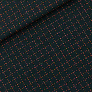 See You At Six Cotton Twill Canvas Thin Grid Small Green Gables