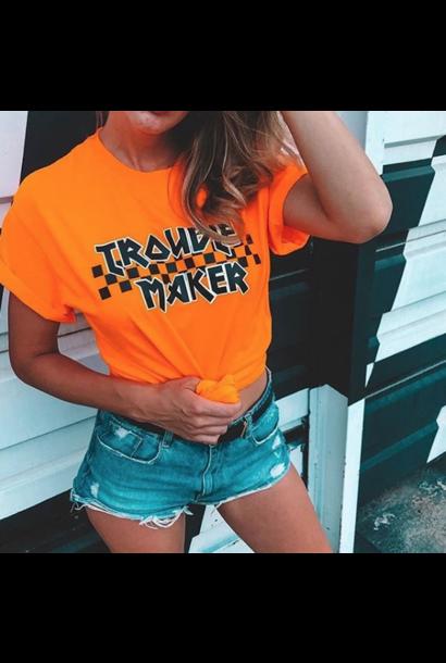 TROUBLE MAKER T-SHIRT - NEON ORANGE