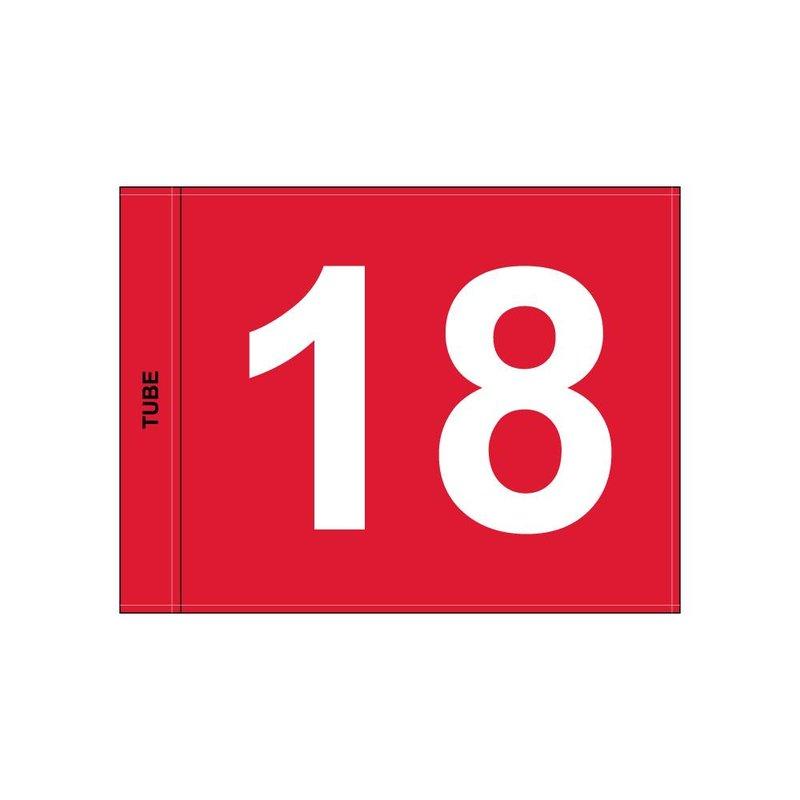 Golfvlag, genummerd, rood