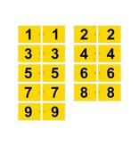 Golffahnen, nummeriert, gelb
