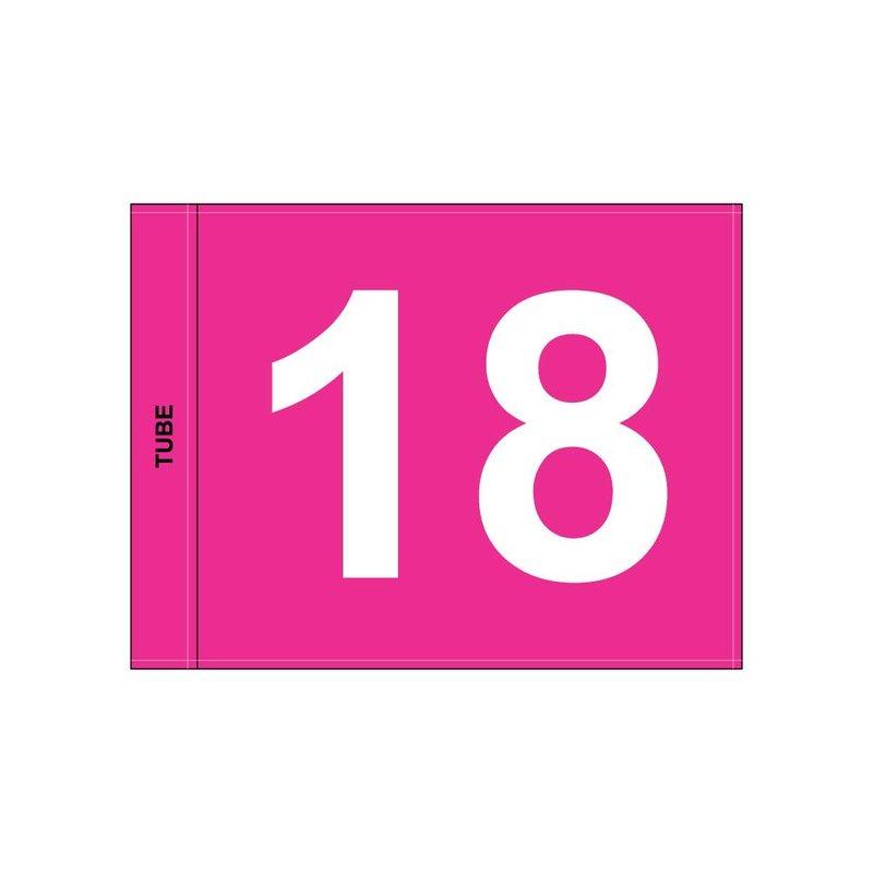 Golfvlag, genummerd, roze