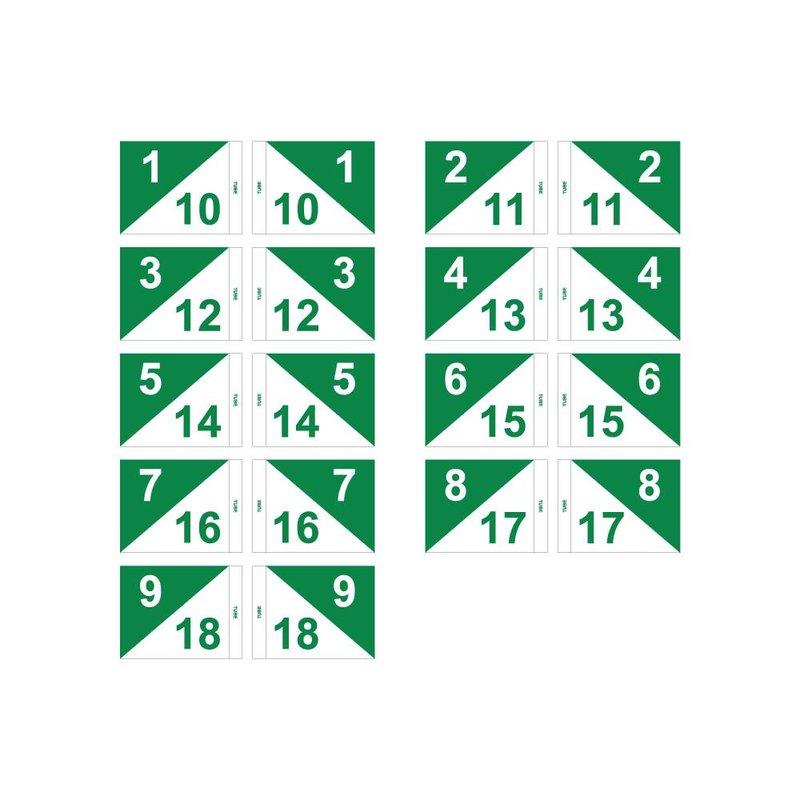 GolfFlags Golffahnen, semaphore, nummeriert, weiß - grün