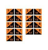 Golf flag, semaphore, numbered, black - orange