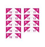 Golffahnen, semaphore, nummeriert, weiß - pink