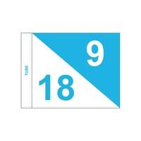 Golf flag, semaphore, numbered, white - light blue