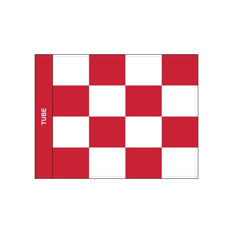 Golf flag, checkered, white - red