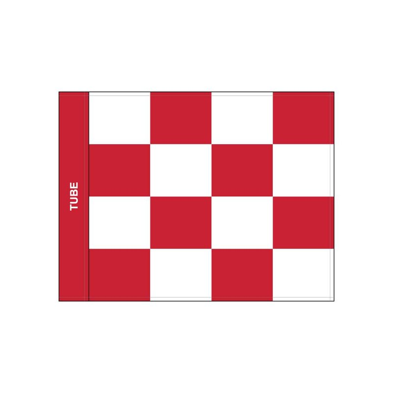 GolfFlags Golfvlag, checkered, wit - rood