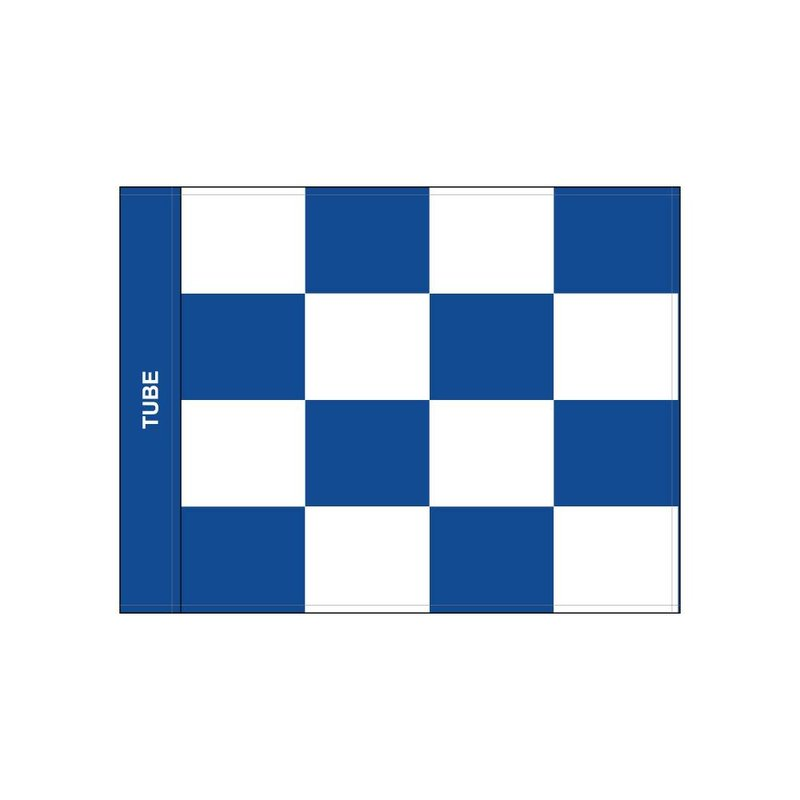 GolfFlags Golfvlag, checkered, wit - blauw