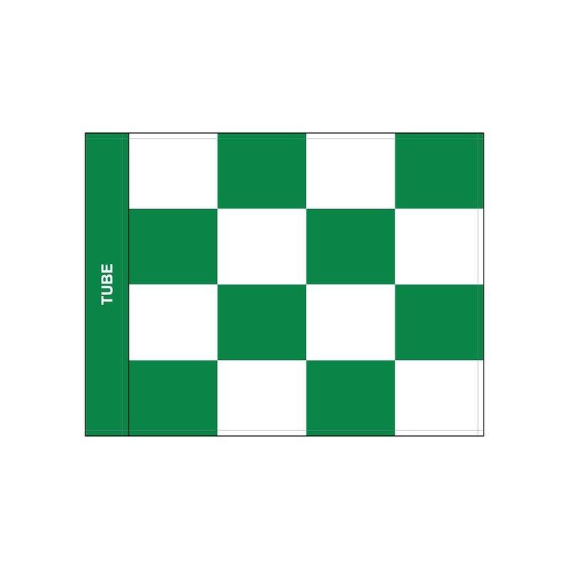 Golf flag, checkered, white - green