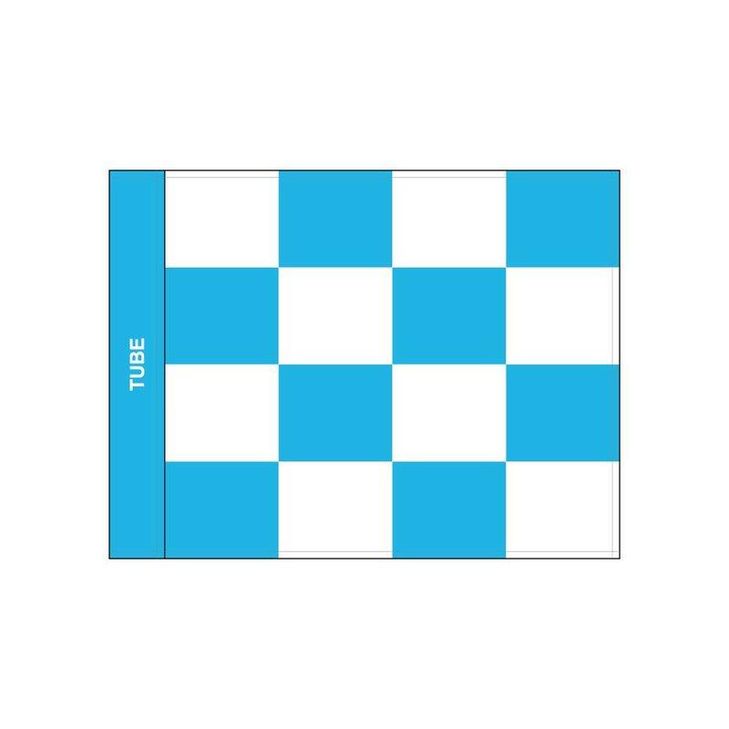 GolfFlags Golf flag checkered, white - light blue