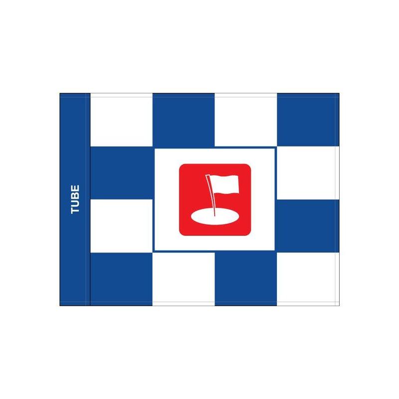 Golf flag, checkered with logo