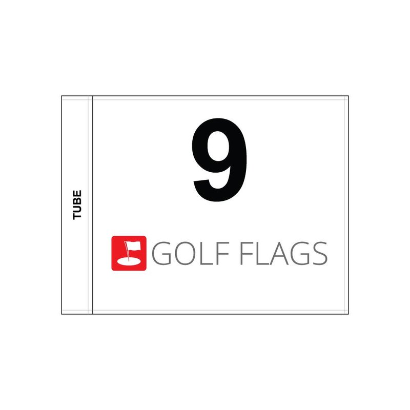 Golf flag, numbered with logo