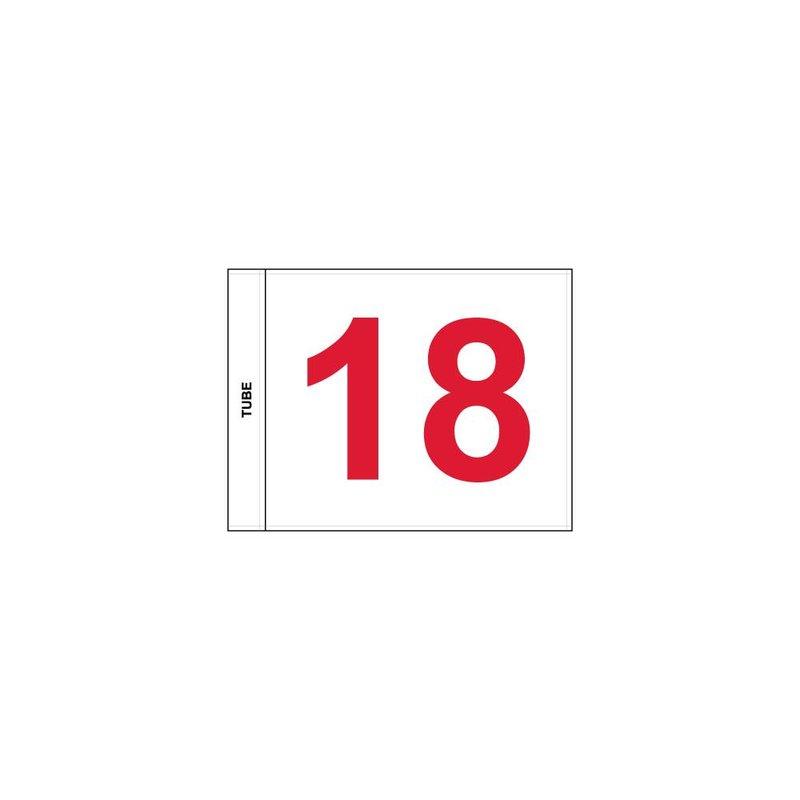 GolfFlags Putting Green Fahne, nummeriert, weiß