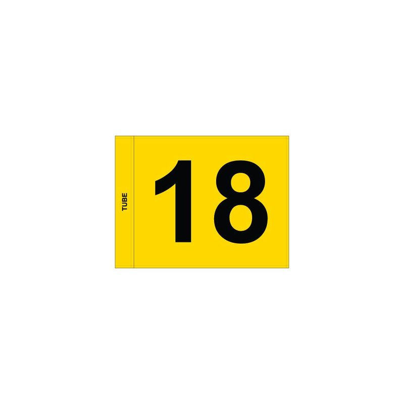 Putting green flag, numbered, yellow