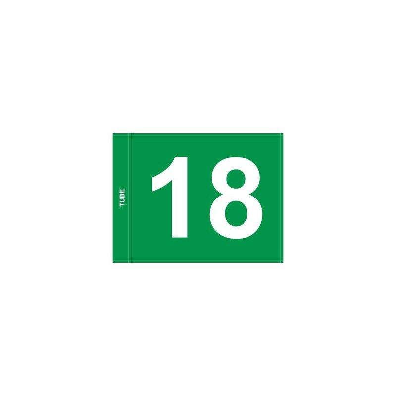 Putting green vlag, genummerd, groen
