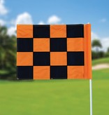 GolfFlags Golffahne, karriert, schwarz - orange