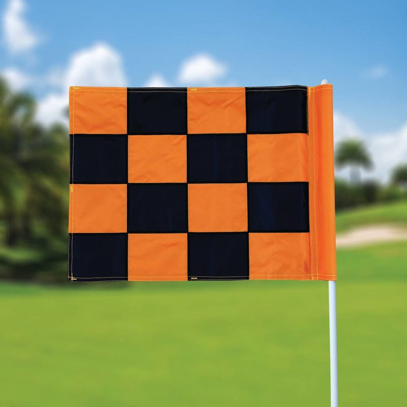 GolfFlags Golfvlag, checkered, zwart - oranje