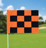 Golffahne, karriert, schwarz - orange