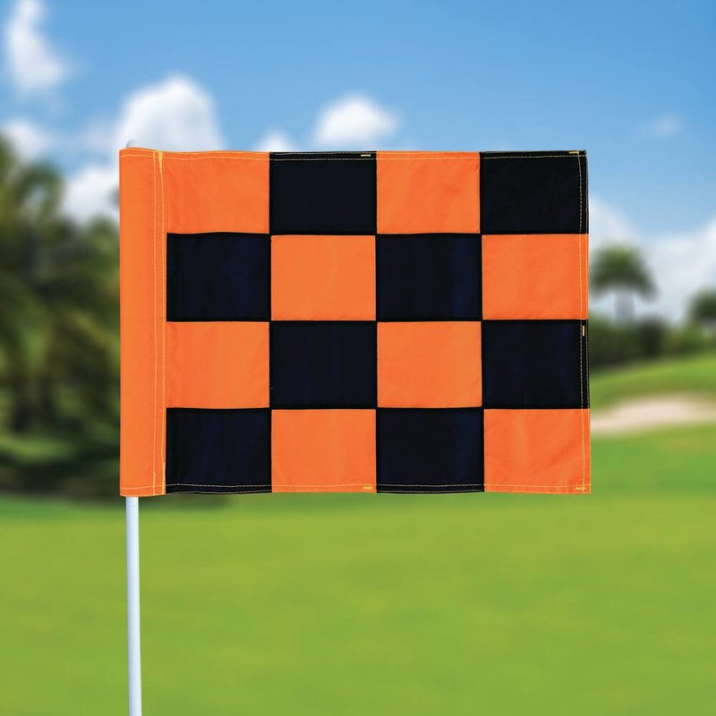 GolfFlags Golf flag, checkered, black - orange