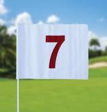 Golf flag, numbered, white