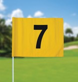 Golf flag, numbered, yellow