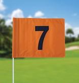 Golf flag, numbered, orange